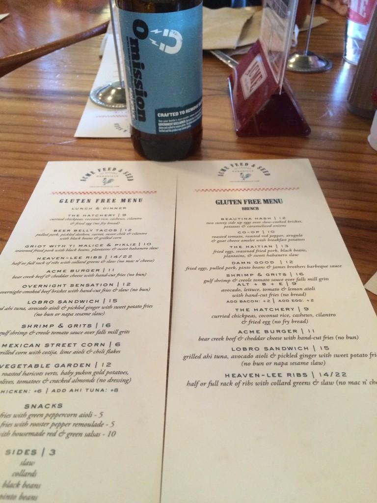 Acme Feed and Seed Nashville, TN gluten free restaurant